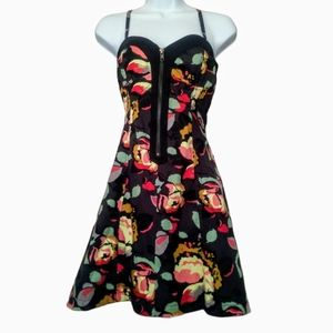 French connection black& multi color floral dress